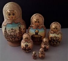 Sergiev Posad signed 7 piece Matroyoshka Russian nesting dolls orthadox church