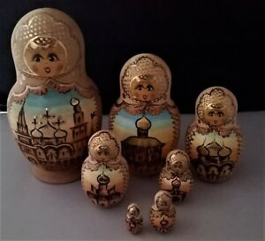 Sergiev Posad signed 7 piece Matroyoshka Russian nesting dolls orthadox church