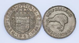 Lot of 2 New Zealand Silver Coins (1941 Florin and 1943 1/2 Crown) XF Condition
