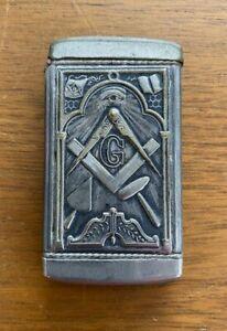Vintage Freemason Masons Match Safe Holder Vesta Silverplate