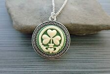 Handmade Claddagh Shamrock Cameo Necklace - Green