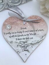 Personalised Friendship Heart Gift keepsake Sign Plaque Birthday Christmas  P238