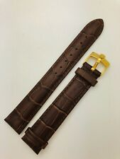 18mm Rolex Brown Genuine Leather Watch Strap With Gold Pin Buckle.