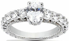 3.16 carat total Oval & Round Diamond Engagement Ring Wedding Band 14k Gold