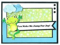 FROG JUMP FOR JOY Anniversary or Love Greeting Card - Handmade with Saying
