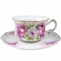 Pink & White Roses Tea Cup & Saucer Teacup Porcelain Purple Green Gold Trim Atq