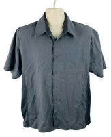 Cook Cool Happy Chef Mens Shirt Button Front Short Sleeve Gray Size Large