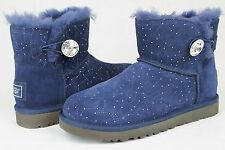 UGG AUSTRALIA WOMENS MINI BAILEY BUTTON BLING CONSTELLATION NAVY SIZE 7 US NWOB