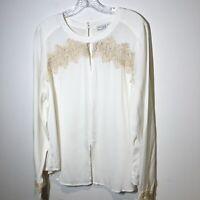 Current Air Women's size large blouse Lace details cottage core Anthropologie