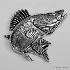 Zander Pewter Pin Brooch - British Handcrafted - Walleye Perch Coarse Fishing