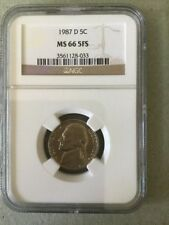 1987 D Jefferson Nickel NGC MS 66 5 FS Low Pop 72