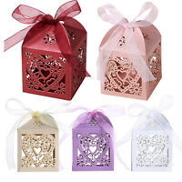 50Pcs Love Heart Ribbon Laser Cut Candy Gift Boxes Wedding Party Favor Gift Box