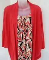 Plus Size ALFRED DUNNER 2 in 1 Attached Tank w/Open Cardigan Knit Top Shirt 2X