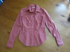 New York & Co iridescent orange button down work casual top blouse ruffles XS