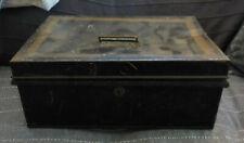 "Antique Black & Gold Toleware 13"" Metal Document Cash Box"