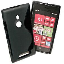 Rubber  Silikon TPU Cover Case Schwarz für Nokia Lumia 925 + Displayschutzfolie