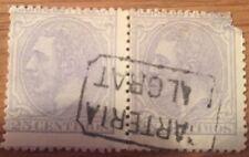 Dos Sellos Alfonso XII 25 c. Usado 1879 Matasellos  Carteria Malgrat Edifil 204
