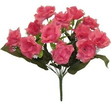 12 Open Roses Pink Mauve Long Stem Silk Bridal Bouquet Centerpiece Flowers