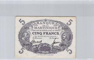 Martinica 5 Francos (1946) P.423 N º 071 Pick 6a XF