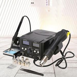 750W 2 in 1 Iron Station Soldering Hot Air Gun Desoldering Rework Digital Solder
