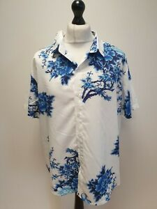 MENS CHARMKP R BLUE WHITE FLORAL SHORT SLEEVED HAWAIIAN SHIRT UK XL EU 54-56