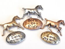 """6 - 2 HOLE SLIDER BEADS TRI COLOR METAL HORSES """"BORN TO RIDE"""" """"I LOVE MY HORSE"""""""