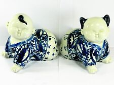 Chinese Blue & White Porcelain Baby Boy & Girl Figurine Statue with Certificate