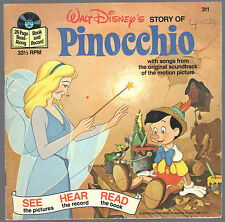 WALT DISNEY'S STORY OF PINOCCHIO BOOK & RECORD W/ SONGS FROM ORIGINAL SOUNDTRACK
