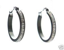 Steel by Design Crystal Hoop Earrings Black w/Clear Princess Cut Crystal Small '