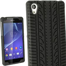 Nero Silicone Custodia Pneumatico per Sony Xperia Z2 D6503 Case Cover Pellicola