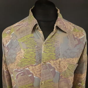 Vintage Crazy Shirt RETRO Funky Hippy 2XL Long Sleeve Abstract JAG Mens