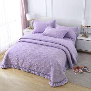 Vintage Cotton Purple Patchwork Bedspread Quilted Coverlet Size Bedding AU