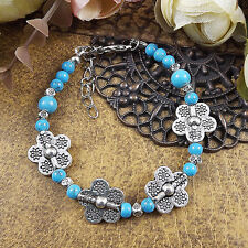 Hot Fashion Tibetan Silver Jewelry Beads Bangle Turquoise Chain Bracelets S42