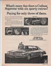 """Original 1975 Oldsmobile Cutlass Magazine Ad """"What's More Fun Than A Cutlass..."""""""