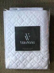 VERA WANG white double diamond 100% cotton standard/queen pillow sham NWT!$105