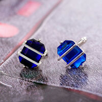 Vintage Blue Stainless Steel Mens Wedding Party Gift Shirt Cuff Links Cufflinks
