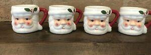 Pottery Barn Shot Glasses Christmas Ceramic Figural Santas Mini Cups Mugs NIB