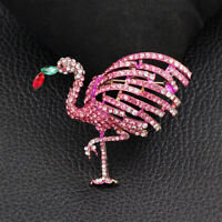 Women's Pink Crystal Rhinestone Flamingo Bird Charm Betsey Johnson Brooch Pin