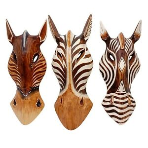 Mixed Horse Face Animal Wooden Masks Safari Wall Art Hanging 10 inches Set03