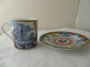 HERMES PORCELAIN COFFEE CUP AND SAUCER SET 'PATCHWORK'