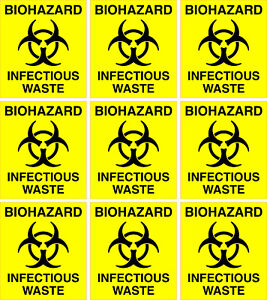 Biohazard Infectious Waste Stickers 60mm X 69mm 9 X Warning & Safety labels