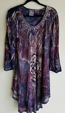 India Boutique Brand Long Sleeve Multi Color Dress Tunic 100% Rayon Free Size