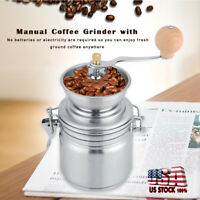 New Manual Coffee Grinder Stainless Steel Burr Portable Hand Crank Bean Mill