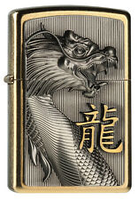 ZIPPO Feuerzeug GOLDEN DRAGON Brass m. Emblem Drachen chin. Schriftzeichen NEU