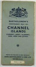 1948 alte Vintage Bartholomew's konturierte Karte der Kanalinseln Guernsey Jersey