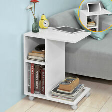 SoBuy White Coffee Sofa Side End Table on Wheels with Storage Shelves,FBT48-W,UK