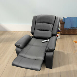 Electric Power Lift Recliner Chair Leather Heat Massage Sofa Elderly Couch Black