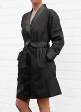 Leonique Bademantel Morgenmantel Kimono Satin-Besatz-Gürtel, schwarz. NEU!!!