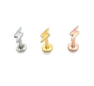 16G LIGHTNING BOLT ROSE GOLD STEEL INTERNALLY THREADED LABRET STUD TRAGUS RING