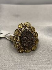 Pear Shape Red Drusy Quartz And Oval Citrine Ring